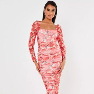 INC Bodycon Ruched Midi Dress with Sheer Sleeves